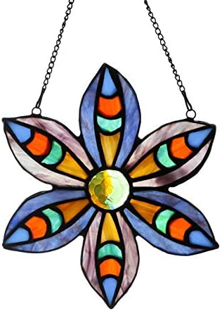 Alivagar Stained Glass Windows Hanging Suncatchers Flower Blue, 6 x 6