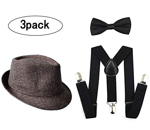 1920s Set Fedora Gangster Hat Costume Accessory Y-Back Suspenders & Pre Tied Bow Tie,Men's Roaring 1920s Set Manhattan Fedora Hat Men (Gray)