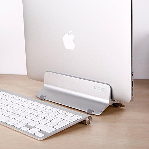 Vertical Laptop Stand, LOCA Aluminium Desktop Stand for Apple MacBook, notebooks (Silver) … Photo #3