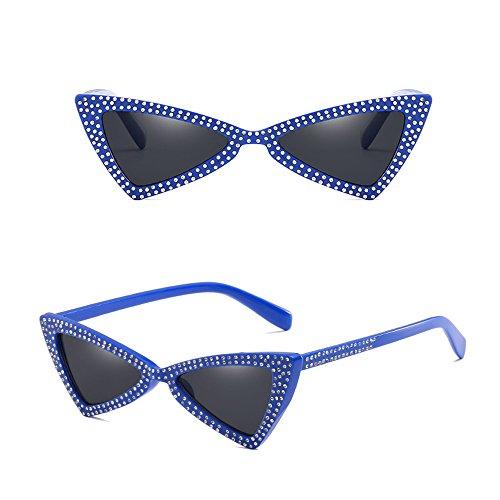 Bleu Dintang Lunettes Rétro Soleil Femme air de Lunettes Classique Oeil Mode de plein Gris de chat 6rBq6