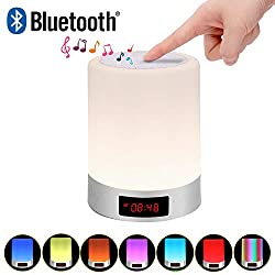 Richsing Touch lamp,Bedside Lamp Alarm Clock Bluetooth Speaker With Light Color Changing Warm white touch light Bedside clock Table Lamp
