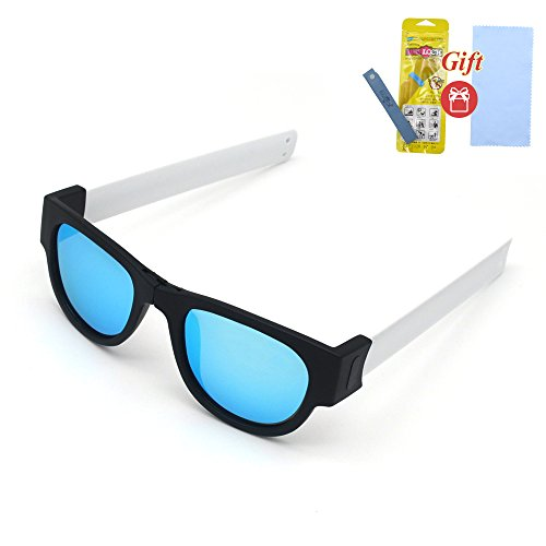 Fashion Folding Sunglasses with a clip. Sport sunglasses for beach and summer (White legs, Ice - Sunglasses Slap