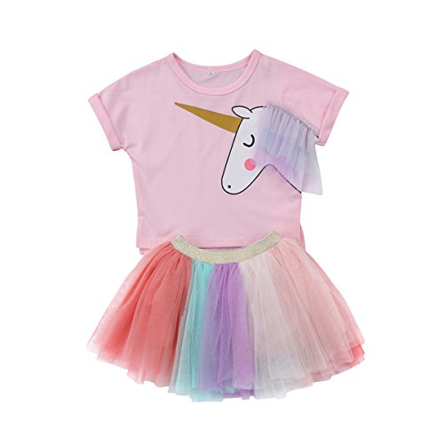 (Baby Girl Unicorn T-Shirt Tops Colorful Tutu Lace Skirts Outfits Clothes Kids Summer Fashion Skirts (Pink,)