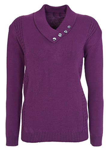 Jersey de punto de manga larga para mujer, cuello con botones, talla grande ciruela