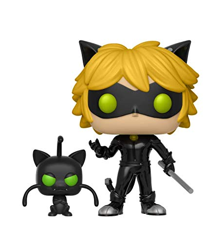 Funko- Miraculous Tales of Ladybug & Cat Negro with Plagg-London Toy Fair Reveals 2018 Figurina, Multicolor, 9 cm, 28638