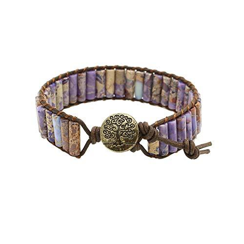 Bonnie Beaded Wrap Bracelet for Women Gemstone Beads Leather Bracelet Tree of Life Imperial Jasper Stone Beads Wrap Bracelet - Jasper Purple
