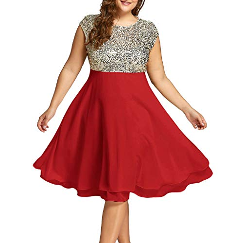 Yucode Women Solid Sequined O-Neck Plus Size Sleeveless Chiffon Dress Casual Knee-Length Summer Dress Red ()