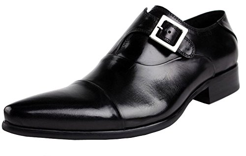 Jsix Hombre De Hebilla Formales Zapatos De Vestir De Piel ocasiones formales o informales,caballero - Traje/ Fiesta/ Boda Negro