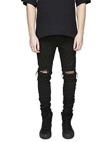 Uomo Strappato Santimon Allungare Pantaloni Nero Denim Jeans Distrutto In Forma Sottile Distressed d6nBnUTp
