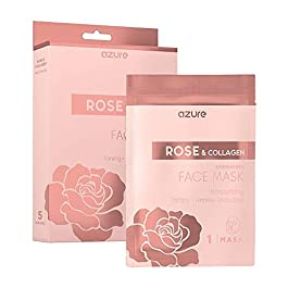 AZURE Rose & Collagen Hydrating Sheet Face Mask – Deeply Moisturizing, Toning & Lifting | Reduces of Wrinkles & Fine…