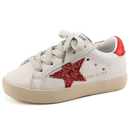 Bakkotie Toddler Baby Boys Girls Fashion White Sparkly Glitter Leather Retro Star Sneakers Shoes