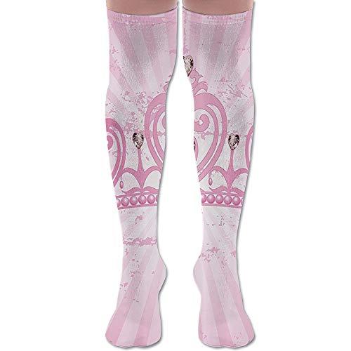 - Pink Heart Princess Crown Athletic Tube Stockings Women's Men's Classics Knee High Socks Sport Long Sock