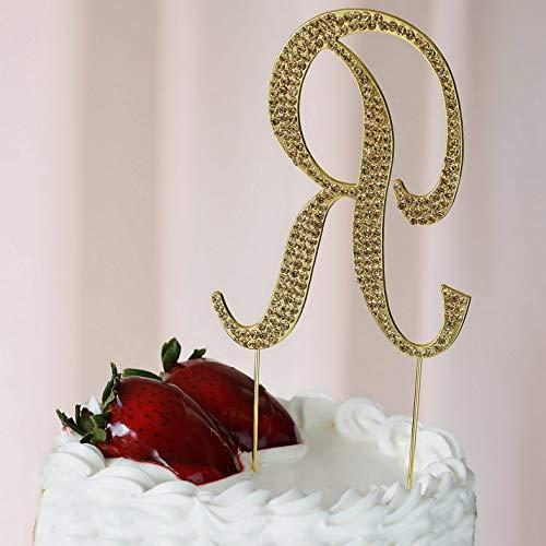 (Mikash 4.5 Tall Gold Crystal Rhinestone Cake Topper Wedding Birthday Party Decorations | Model WDDNGDCRTN - 17383 |)