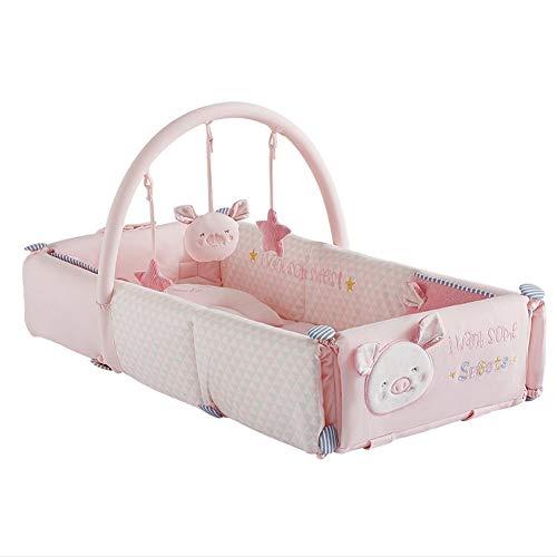 HLR-Crib Travel Multifunktions Baby Stubenwagen Nest Für Bett Reisebetten Krippe Kind Krabbeln Pad Mit Niedlichen Spielzeug Tragbare Faltbare Rosa (Faltbar)