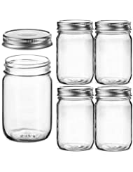 Glass Regular Mouth Mason Jars, 12 Ounce Glass Jars with Silver Metal Airtight Lids for Meal Prep, Food Storage, Canning, Drinking, Overnight Oats, Jelly, Dry Food, Spices, Salads, Yogurt (5 Pack)