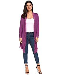 Meaneor Women's Open Front Long Sleeve Knitted Lace Cardigan Sweater
