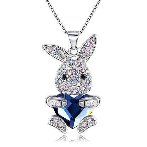 (EleQueen Easter Day Women's Silver-Tone Blue Bunny Heart Pendant Necklace Adorned with Swarovski? Crystals)