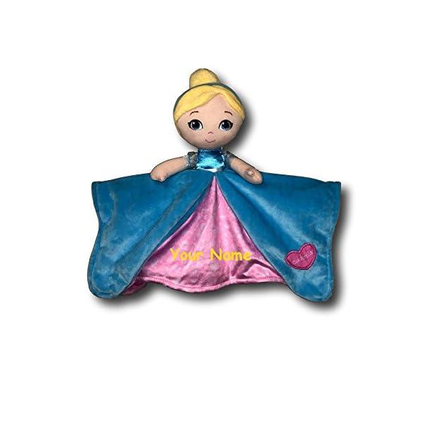 Kids Preferred Personalized Disney Cinderella Princess Cinderella Pink and Blue Dress Baby Snuggler Blanket – 12 Inches