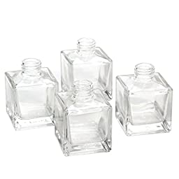 Hosley\'s Set of 4 Square Glass Diffuser Bottles - 3.25\
