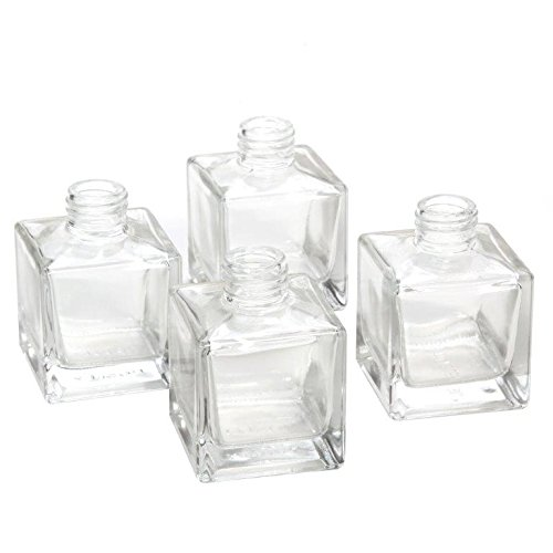 """Hosley's Set of 4 Square Glass Diffuser Bottles - 3.25"""" High. Ideal for Use with Essential Oils, Hosley Replacement Diffusers & Hosley Reed Sticks, Diy, Crafts"""