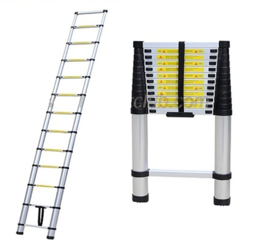 12.5' Aluminum Telescopic/Telescoping Loft Ladder Extension Extendable Portable by Generic