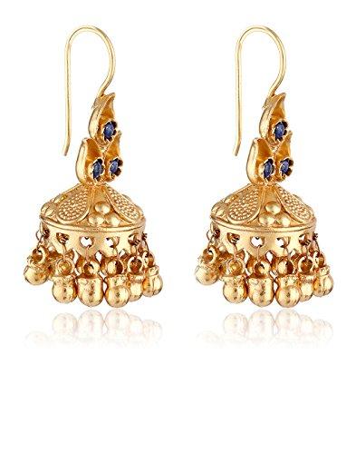 aarohee traditionnel indien Boucles d'oreille en argent sterling avec pierres semi-précieuses Bleu marine Finition en or Pierre pour femme aau100