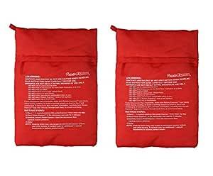 VADOO Paquete de 2 Bolsas de microondas para cocinar con Patata - Bolsa para Papas exprés, Papas Solo 4 Minutos -Red