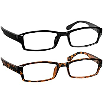 53dad012d590 Reading Glasses 3.0 Black and Tortoise (2 Pack) Best Readers for Men and  Women - Stylish Look and Crystal Clear Vision When You Need It!Spring Arms  ...