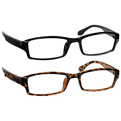 Reading Glasses 3.5 Black and Tortoise (2 Pack) Best Readers for Men and Women - Stylish Look and Crystal Clear Vision When You Need It!Spring Arms & Dura-Tight Screws (Best E Reader Review)