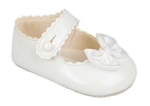 lusso Occasioni decorativo per speciali di Scarpe bambina bianche Fiocco leggera suola britannico Battesimo KEOHnWA