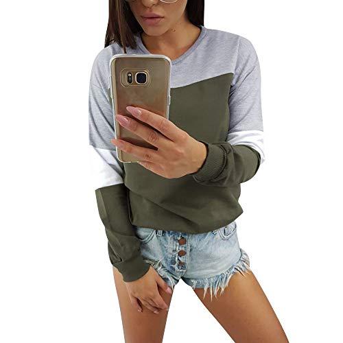 HYIRI Splcing Color Sweatshirt Pullover Tops,Womens Long Sleeve Blouse