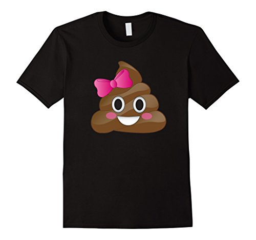 Men's Cute Funny Emoji Pink Bow Cutie Poo T-Shirt - Poop Emoji 2XL Black