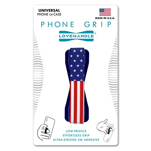 LoveHandle Universal Grip for Smartphone and Mini Tablet - USA Flag Colored Elastic Strap with Blue Base