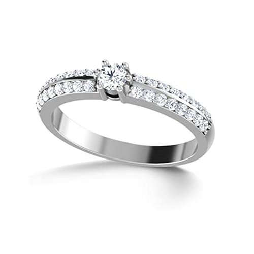 14K Or blanc, 0,35carat Diamant Taille ronde (IJ | SI) en diamant