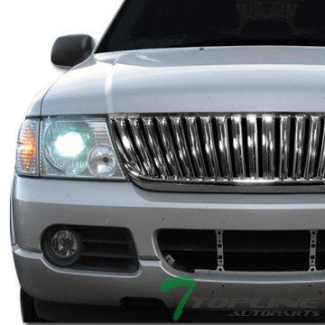 Chrome Vertical Sport Front Hood Bumper Grill Grille Ford Explorer (Chrome Vertical Hood)