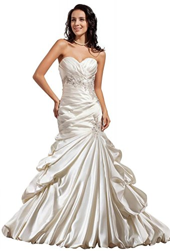 /Trumpet Sweetheart Court Train Satin Draped/Applique/Beading Wedding Dress 10 White (Draped Satin Dress)