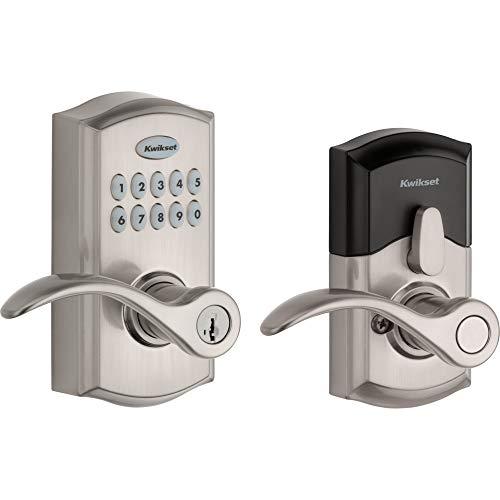 Kwikset SmartCode 955 Keypad Electronic Lever Door Lock Deadbolt Alternative with Pembroke Door Handle Lever Featuring SmartKey Security in Satin Nickel (Kwikset Deadbolt Electronic)