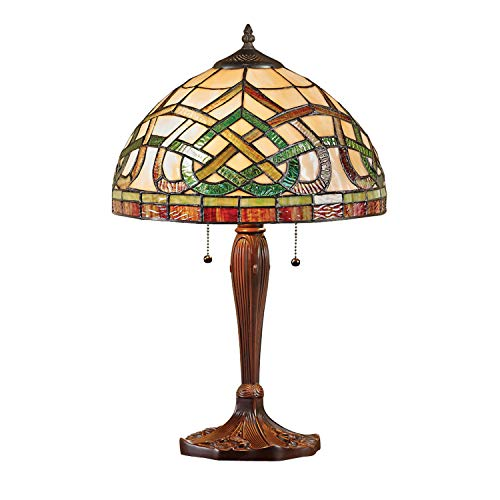 Celtics Lamp (River of Goods Celtic Knot Stained Glass Desk Table Lamp - Art Glass Shade Accent Light)