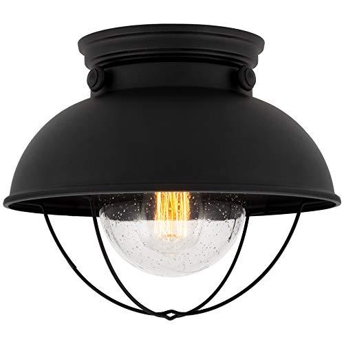 "Kira Home Bayside 11"" Industrial Farmhouse Flush Mount Ceiling Light + Seeded Glass Shade, Matte Black Finish"