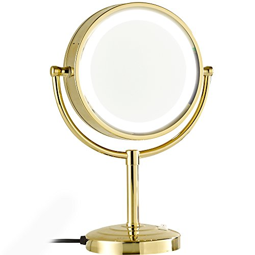 GURUN 8.5-Inch Tabletop Double-Sided LED Lighted Make-up Mirror with 10x Magnification,Gold Finish M2208DJ(8.5in,10x) by GURUN