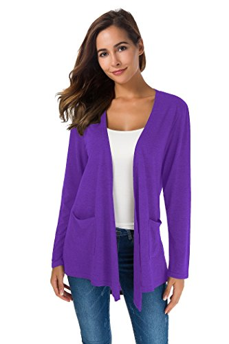 XINAO Women's Open Front Casual Comfy Flowy Long Line Modal Cardigan (L, Violet) ()