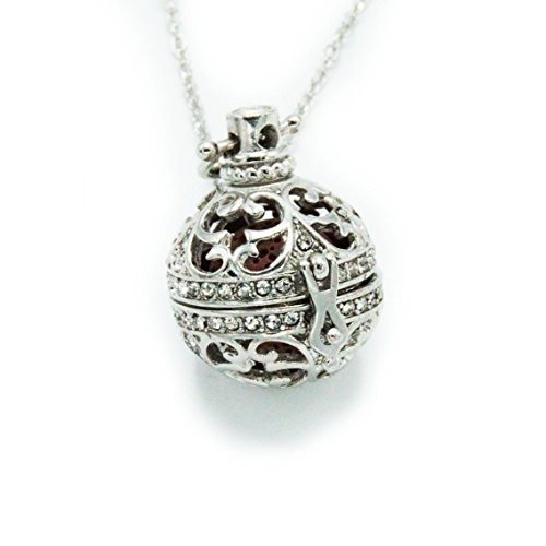 Sier Filigree Rhinestone Aromatherapy Perfume Essential Oil Diffuser Necklace Locket With Lava Stone (Red) (Oil Sier)