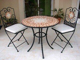Table de jardin fer forgé et mosaïque Ø76cm x 74cm DCB ...