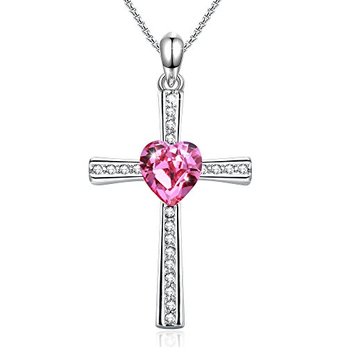 GEORGE · SMITH Lord Bless You Cross Pendant Necklace Jewelry, Pink Heart Crystals from Swarovski Birthday Gifts for Women - Pink Necklace Heart