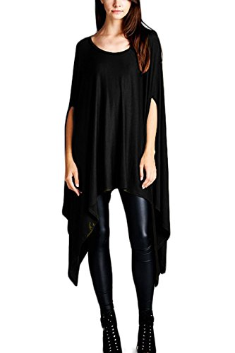 Batwing Dress Womens Flared Solid Knit Poncho Tunic Top Black OS