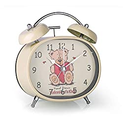 Loud Alarm Clock for Kids, 4 Inch Ellipse Silent Non-Ticking Quartz Double Twin Bell Alarm Clock Night Light Functions Battery Operated Classic Tabletop Desk Alarm Clock for Teens Bedroom (Toy Bear)