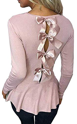 ECHOINE Womens Long Sleeve Top - Cute Elegant Bow Lace Up Ruffle Flare Peplum Shirt Blouse Tee ()