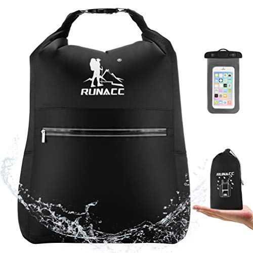 RUNACC Waterproof Dry Bag Backpack 20L Floating Dry Sack with Free Waterproof Phone Case for Beach, Kayaking, Camping, Boating, Swimming, Fishing, Hiking