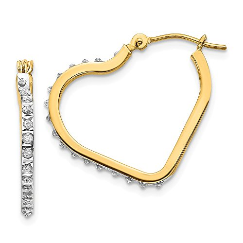 14k Yellow Gold Diamond Fascination Heart Hinged Hoop Earrings Ear Hoops Set Love Fine Jewelry Gifts For Women For Her