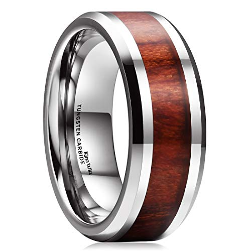King Will NATURE 8mm Real Wood Tungsten Carbide Ring High Polished Wedding Band Comfort -